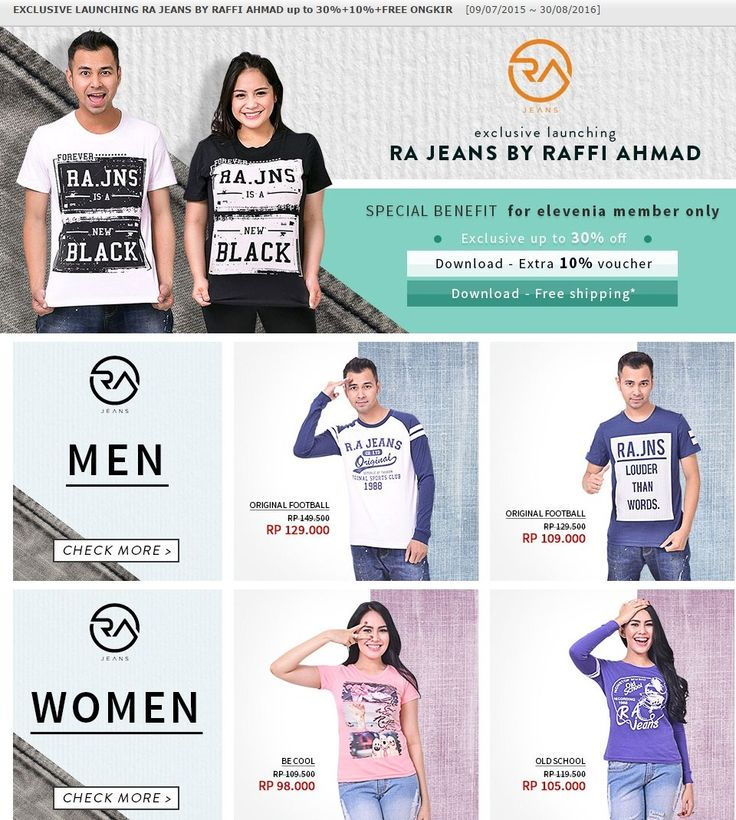 RA Jeans By Rafi Ahmad, sekarang available di Elevenia.co.id lho