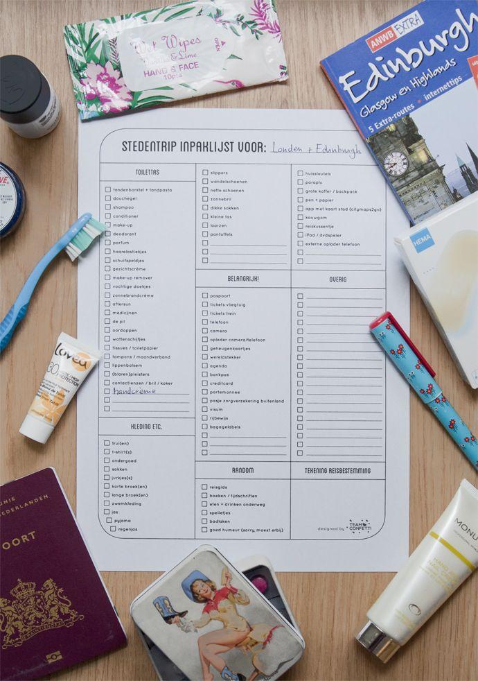 Free printable: Inpaklijst vliegvakantie / stedentrip