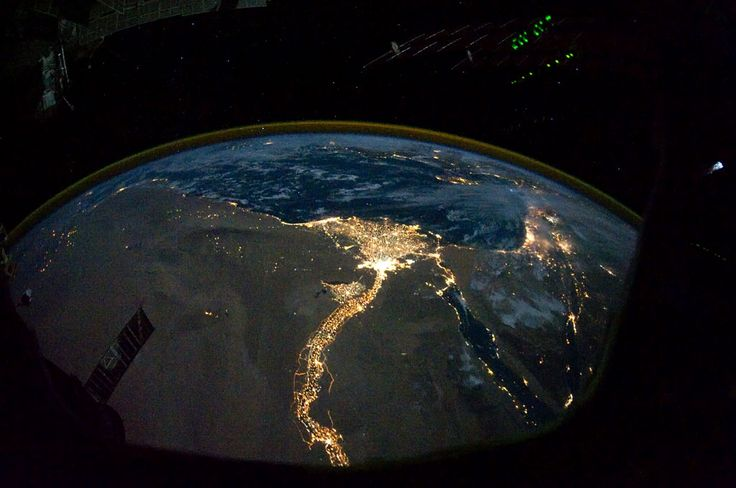 israel & ejypt from outer space. light.