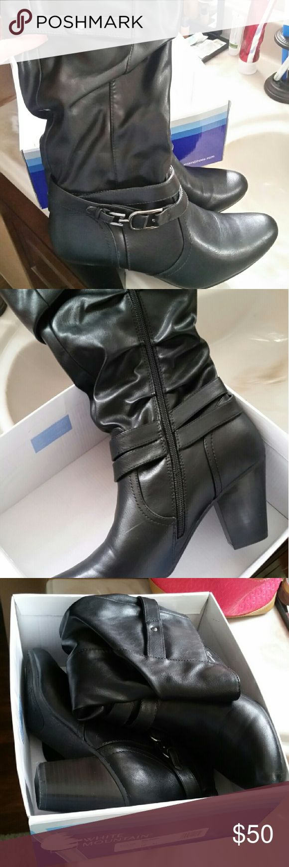 White Mountain  boots Black like new...only wore them for Christmas  (indoors ) they're not too tall....size 10..still in original box! white Mountain  Shoes Heeled Boots