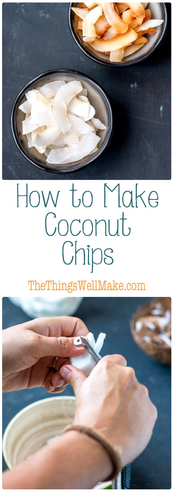 Making coconut chips from a fresh coconut is easier than it looks! Find out how to make coconut chips and toasted coconut chips.