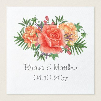Modern Floral in Peach Wedding Dinner Napkin - kitchen gifts diy ideas decor special unique individual customized