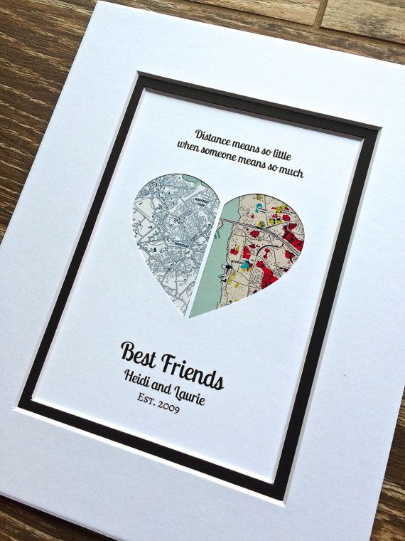 Long Distance Quote Gift « Distance Means So Little, When Someone Means So Much » Valentine's Day Gift – Long Distance Friendship Gift