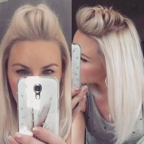 medium braided pompadour hairstyle for thin hair… love the color…