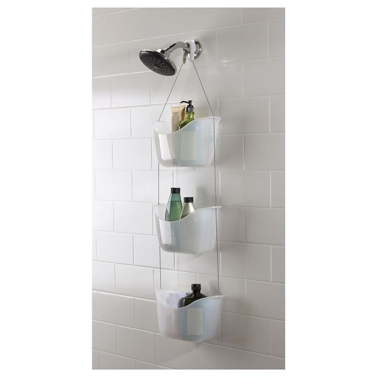 Umbra Bask shower caddy with 3 white