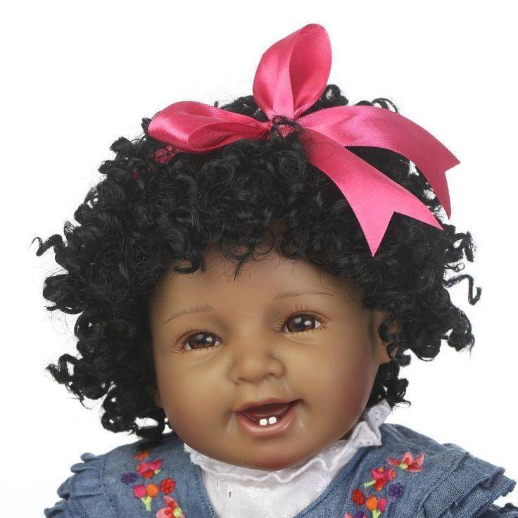 22inch 57cm NPK Silicone Cotton Body Curly Hair Baby Reborn Black Dolls Smiling Bebe Reborn Babies by VelvotechEnterprises on Etsy