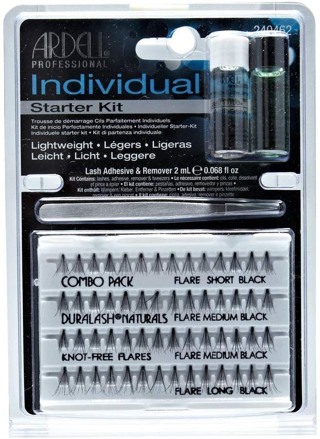 Ardell Individual Combo Flare Lash Starter Kit. It comes with a cleaner, glue, and tweezers. #ad |ardell lashes| |flare lashes| |individual fake lashes| |lash extensions|