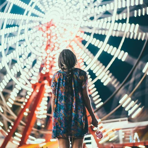 Night photography ideas   Girl in front of Big Wheel   Funfair ,Carnival   Lights at night