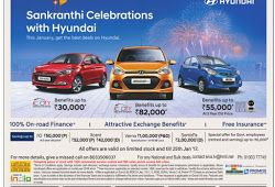 100% on road finance and with free insurance on Hyundai cars    Sankranthi festival celebrations with Hyundai   January 2017 offers