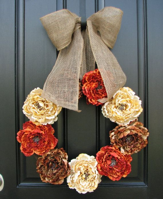 Thanksgiving holiday wreaths fall wreaths burlap ribbon for Decorating with burlap ribbon for christmas
