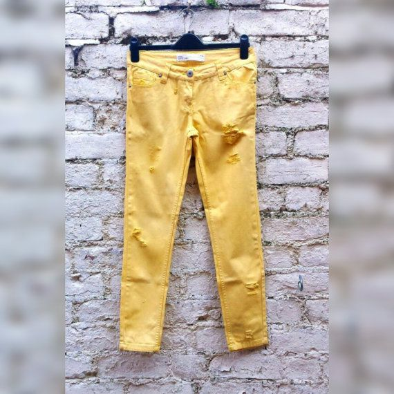 Skinny Jeans Yellow Ripped Jeans Hipster Fashion by AbiDashery