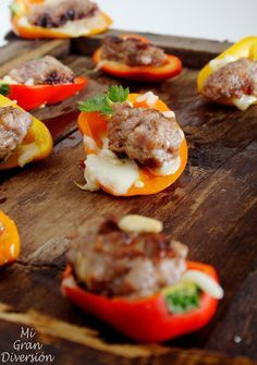 Mi Gran Diversión: Mini Pimientos rellenos de keftes (Kofta) y mozzarella