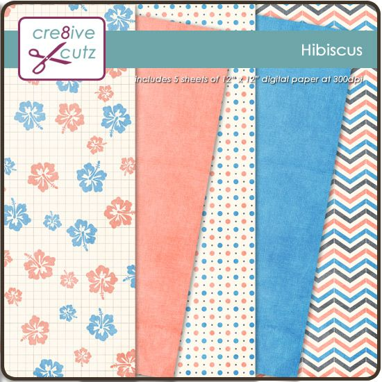 Hibiscus Digital Paper Pack - 99 cents