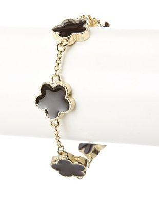 55% OFF Jardin Black Enamel Flower Bracelet
