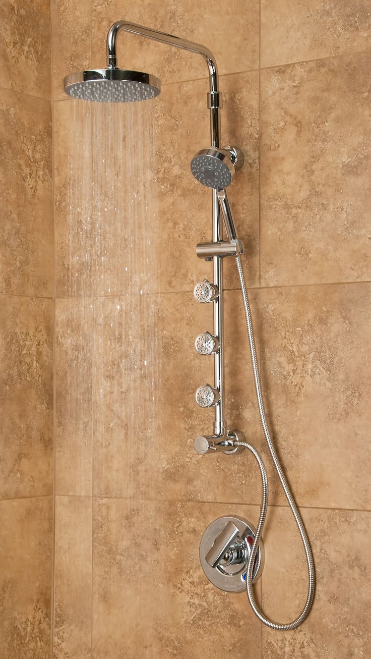"Pulse Showerspas Lanikai ShowerSpa  The Kailani 3 function shower system quickly and easily transforms your shower. Enjoy fingertip control via the conveniently located diverter. Choose between a soothing, oversized rain showerhead, convenient multi function hand shower or rejuvenating dual function body jets. The unique brass shower arm pivots side to side and has 3"" of height adjustment. Adding style, convenience and function to your shower has never been easier."