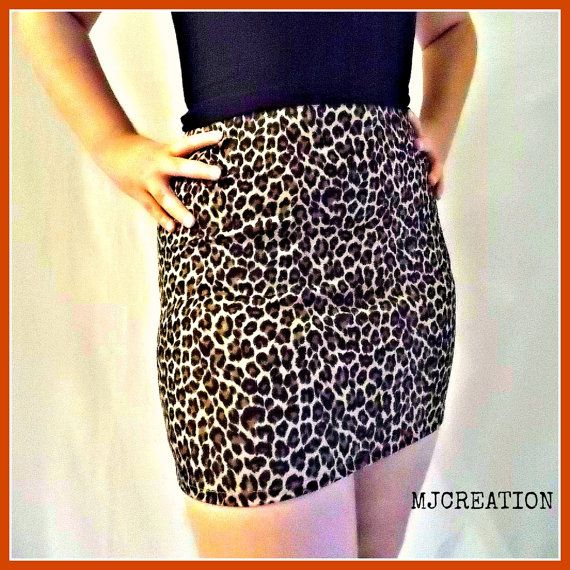 SKIRT vinyl and knit leopard very nice fabric  made by mjcreation, $38.00
