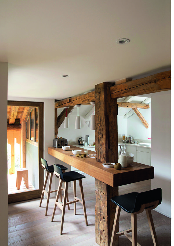 Keep original wood posts and beams when remodeling.