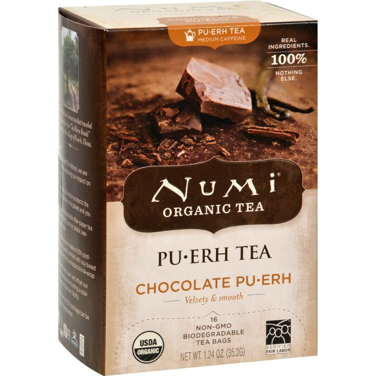 Numi Tea Organic Chocolate Pu-Erh - Case of 6 - 16 Bag - Celebrating People Planet and Pure Tea Pu?Erh Tea - Lower Caffeine Real Ingredients 100% Nothing Else Organic Pu?Erh Ancient Healing Tea With a Rich Bold Taste Velvety and Smooth USDA Organic Kosher  Traditionally known to:  Help weight management* Improve digestion and metabolism Naturally boost energy  *Along with a healthy diet and exercise. Whats the skinny on Pu?Erh? Pu?erh (pu?-er) is an ancient healing tea picked from 500 year…