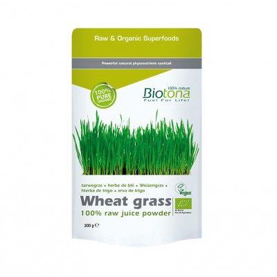 Hierba de Trigo Verde Biotona 200gr  *100% polvo de jugo fresco  Fácil digestión y asimilación  Re-equilibrio del pH del organismo  Aporte de energía y refuerzo de la inmunidad  Efecto desintoxicante y purificador