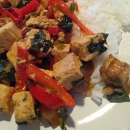 This recipe was inspired by a dish that I ate at a very good Thai restaurant in Toronto many years ago. - Spicy Stir-Fried Tofu with Basil and Eggplant