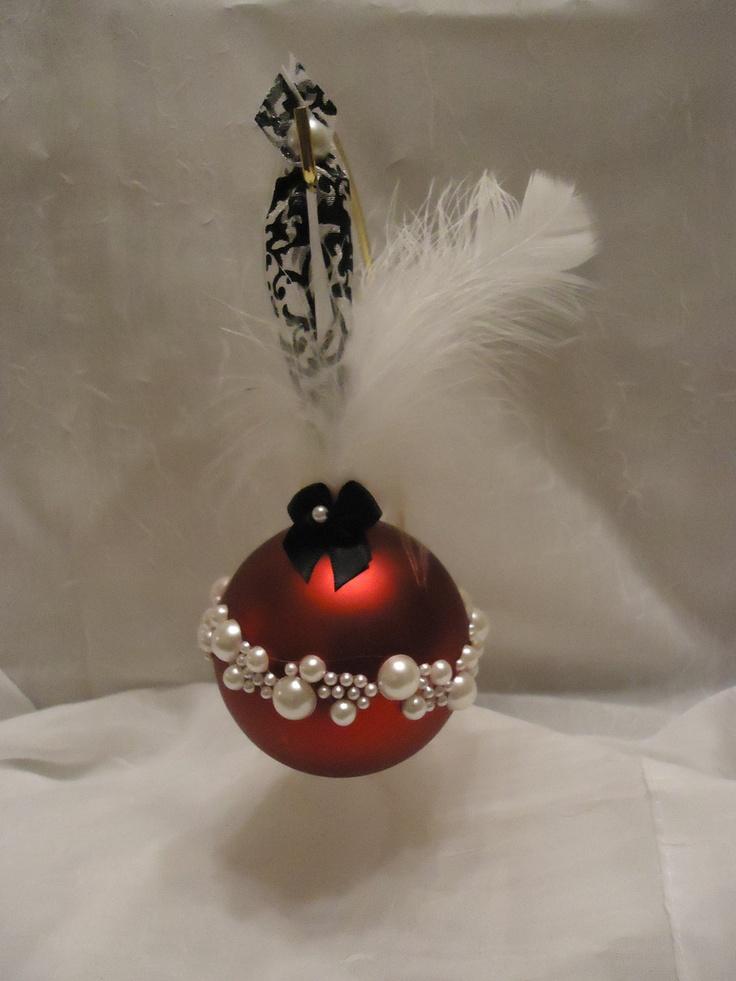 Pearl Christmas Bulb Ornament Let is Snow Pinterest
