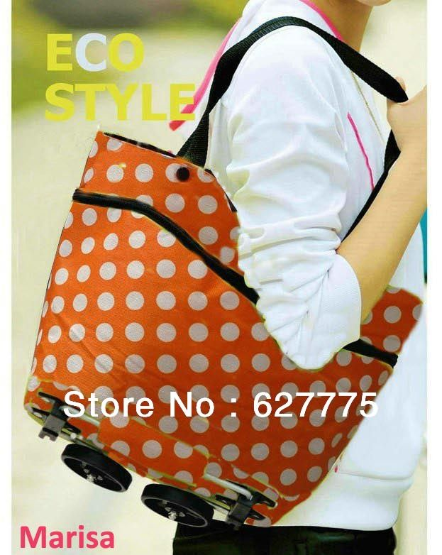 Free ship shopping bag, Rolling and portable shopping cart  foldable shopping trolley bag with wheel $13.90