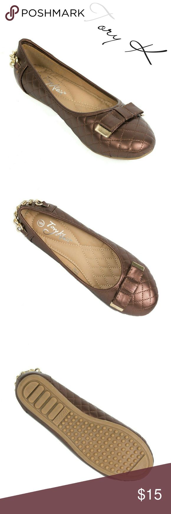 """Women Ballerina Chain Flats w Bow, b-1623, Brown Brand new Tory Klein woman ballerina flats shoes in PU leather with a metal tipped bow and a chain around the back. Soft quilted sole. Bubbled bottom sole for extra traction. A true statement in ladies fashion! Measurements: larger sizes run small. Size 8 measures 9.5 inches, sz 8.5 - 9 3/4"""", sz 9 - 10"""", sz 10 - 10.5"""", all half sizes are in 1/4 inch increments of each other. Tory K  Shoes Flats & Loafers"""