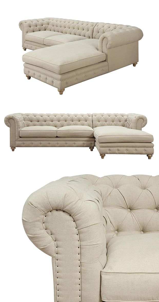 Socialize in style with the stunning and expansive Regency Linen Tufted Sectional. Beautifully upholstered with elegant beige linen fabric and generously padded with feather down cushions, this chaise-...  Find the Regency Linen Tufted Sofa, as seen in the Romantically Rustic Collection at http://dotandbo.com/collections/romantically-rustic?utm_source=pinterest&utm_medium=organic&db_sku=116965