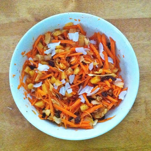 Tumblr, happyvibes (julienned carrots, diced peach, raisins, chopped ...