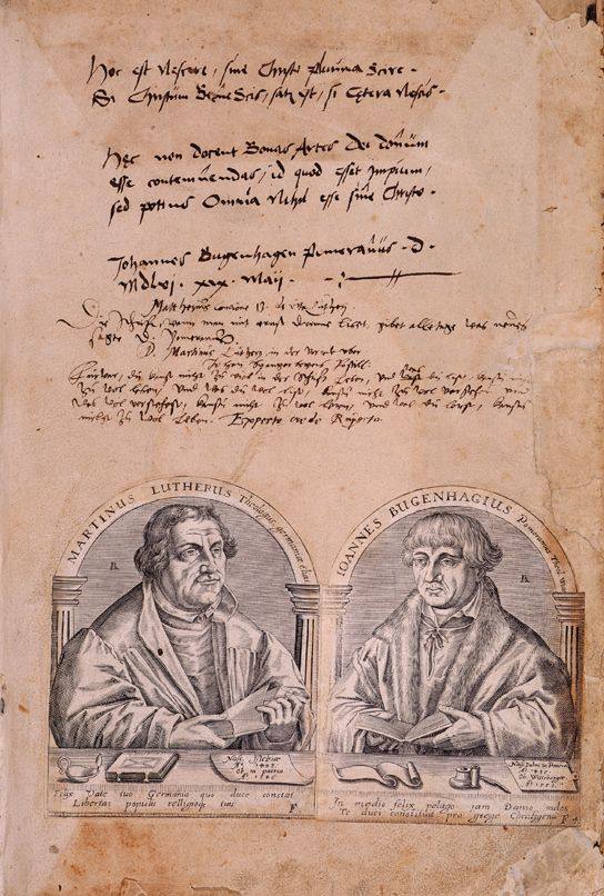The front end paper of Luther's 1541 Bible with portraits of Luther and Johannes Bugenhagen and Luther's transcription from the 21st psalm and signature. Biblia, das ist, die gantze Heilige Schrift: Deudsch auffs new zugericht. D. Mart. Luth., etc. (Wittemberg, 1541). © British Library 679.i.15. -  Before Luther the German language was regarded as too crude and fragmented into provincial rough dialects to be used in any cultivated discourse. In learned circles, Latin was used – both in…