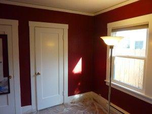 A burgundy wall