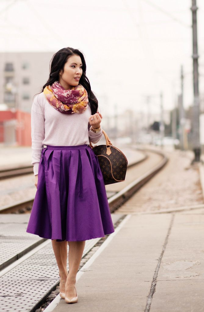 Channel springtime with a #RadiantOrchid full midi skirt! A fun and flirty way to wear the #ColoroftheYear.