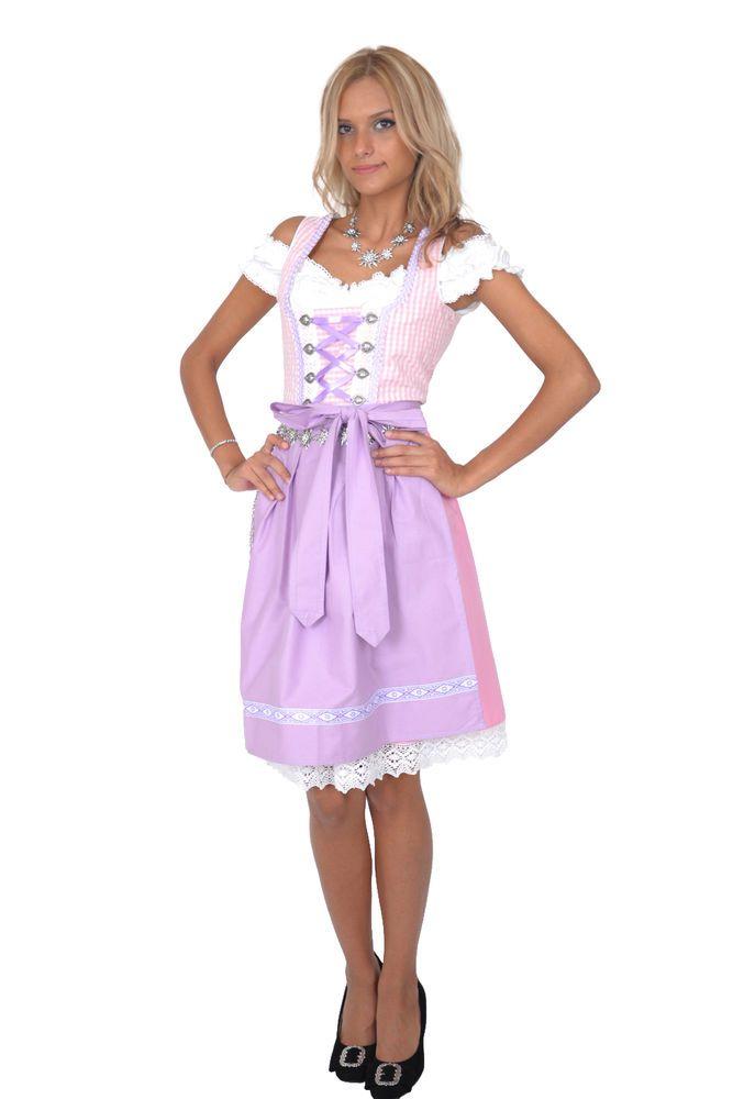 Dirndl Set 3tlg. Trachtenkleid 316GT Rosa&Weiß Kariert Oktoberfest Gr 34 bis 42 in Kleidung & Accessoires, Damenmode, Trachtenmode | eBay