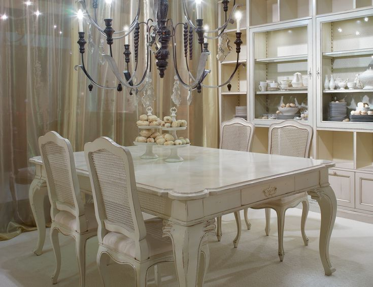 Cabinet Furniture Dining Room Used Table And Chairs Elegant White Painted Wooden With Four Decor