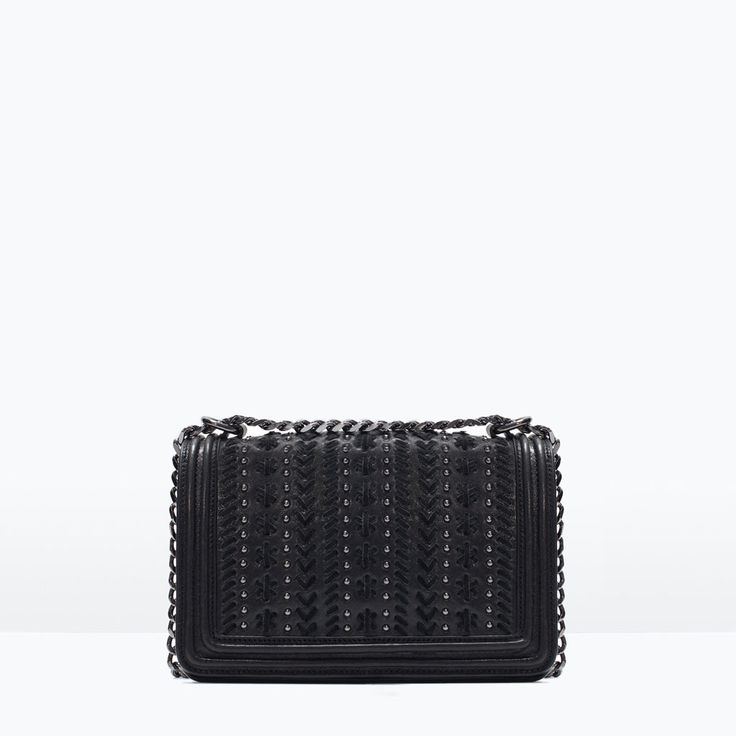 Image 1 of MICROSTUDDED LEATHER MESSENGER BAG from Zara