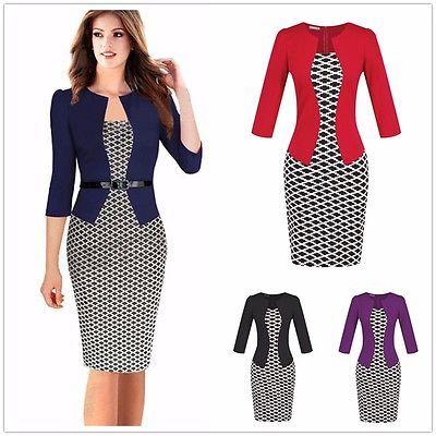 Elegante mujer Oficina Lady formal empresarial trabajo cóctel túnica Lápiz Vestido