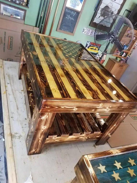 American Flag Wood Coffee Table Epoxy Clear Finish The Wood Is