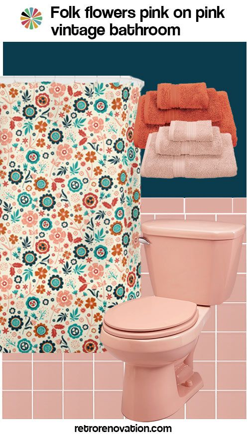 13 ideas to decorate an all pink tile bathroom vintage for Pink tiled bathroom ideas