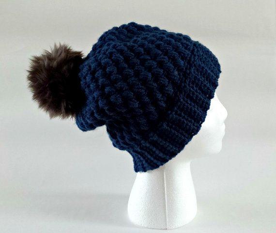 OOAK Bobble hat faux fur pom pom slouchy beanie by KnittingbyKali