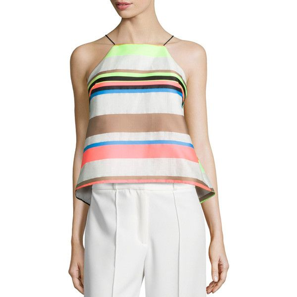 Milly Fluo Multi-Stripe Cami Blouse (1.855 DKK) ❤ liked on Polyvore featuring tops, blouses, multi colors, cami top, striped halter top, stripe top, halter top and spaghetti strap cami