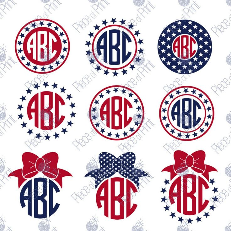 4th of July Monogram SVG Cut files for Silhouette, cricut and other Vinyl Cutters.