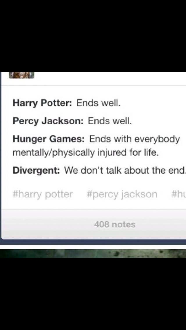 Harry Potter vs. Percy Jackson vs. Hunger Games vs. Divergent Endings