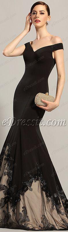 Gorgeous off shoulder black gown! #edressit #dress#black_gown #fashion