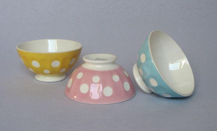 TRIO OF VINTAGE FRENCH CERAMIC CAFE AU LAIT BOWLS with Polka dots | Antiques, Decorative Arts, Ceramics & Porcelain | eBay!