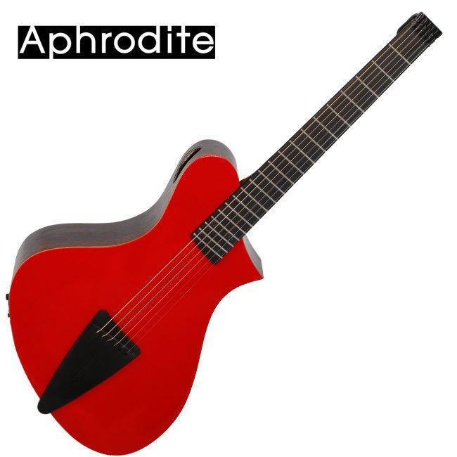 Corona Aphrodite Headless Acoustic Guitar APN-350HSEQ Red Unique Design Travel #Corona