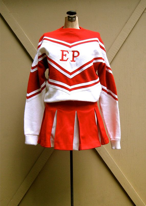 vintage Cheerleader Uniform / Red and White Matching Sweater and Skirt Set