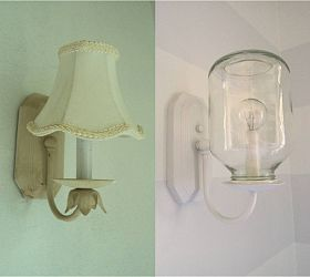 New sconces out of applesauce jars :: Hometalk: Farmhouse Decor, Idea, Lights Fixtures, Lamps Shades, Lights Covers, Applesauce Jars, Sconce, Jars Lights, Mason Jars Projects