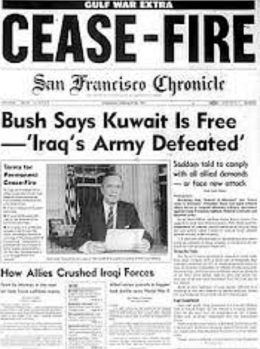Image result for president bush announces the end of the persian gulf war newspaper articles
