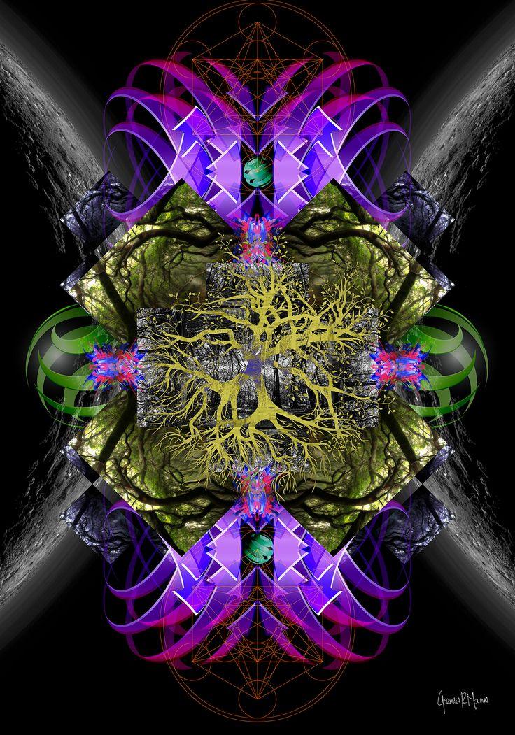 >>Cosmic Tree<< Arte Digital German Molina - Tamaño 100 x 70 cms - Papel Fotográfico sobre marco de madera - info: advisioncolombia@gmail.com