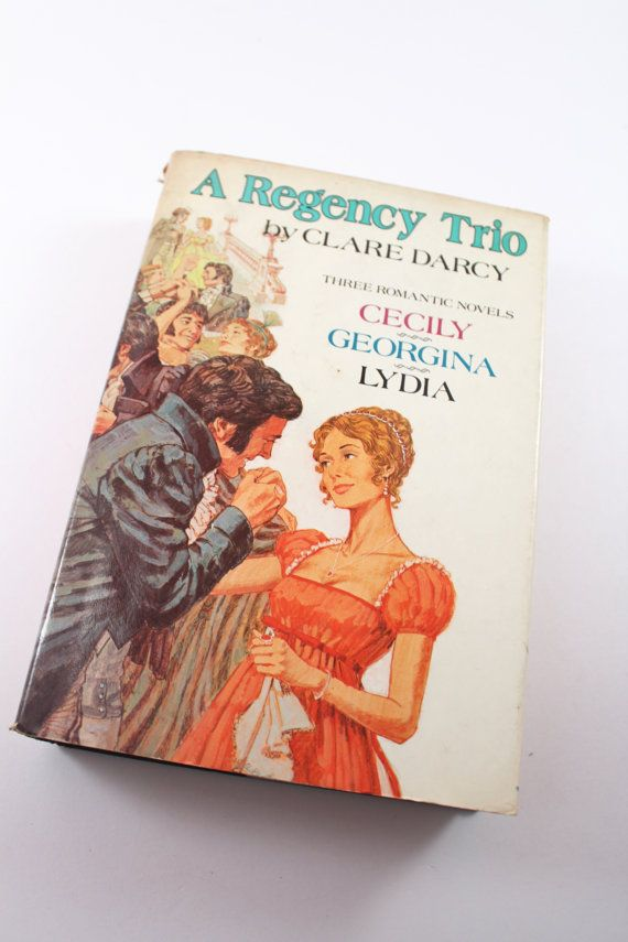 "Vintage romance novels - 1976 ""A Regency Trio"" by Clare Darcy - Cecily, Georgina and Lydia - romance book, historical romance"